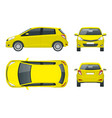 subcompact yellow hatchback car compact hybrid vector image vector image