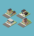 suburban buildings isometric collection vector image vector image