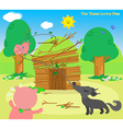 the three little pigs 6 blowing wolf vector image vector image