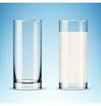 transparent realistic glasses milk on blue vector image vector image