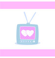 two hearts on television screen love card vector image vector image