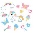 unicorn with magic design elements unicorn with vector image