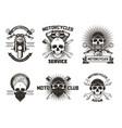 vintage black moto skull labels logos vector image vector image
