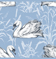 white swan on a lake with cattail seamless pattern vector image vector image