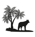 wolf and palm tree black silhouette vector image vector image