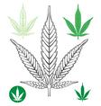 Cannabis leaf outline vector image