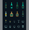 a set of colored icons of alcoholic drinks vector image