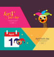 april fools day typography colorful flat vector image