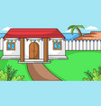 background house in near sea and plant with vector image vector image