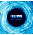 banner with blue color burning fire frame vector image vector image