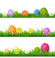 Big Green Grass Set With Flowers And Easter Eggs vector image