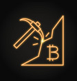 bitcoin mining icon in neon line style vector image