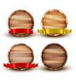 blank brown wooden barrel for alcohol set vector image vector image