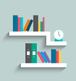 bookshelf with colorful books and clock on blue vector image vector image