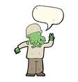 cartoon cool alien with speech bubble vector image