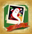 christmas background with funny santa vector image