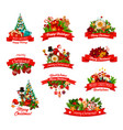 christmas gifts and characters icons vector image