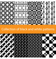 collection of black and white patterns vector image vector image