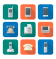 colored flat style various phone devices icons set vector image vector image