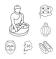 country south korea outline icons in set vector image vector image