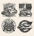 custom cars vintage badges set vector image vector image