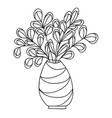 cute cartoon plant in vase isolated on white vector image vector image