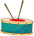 Drum with wooden sticks vector image vector image