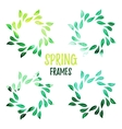 Elegant green watercolour contour floral frame vector image