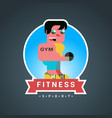 fitness round sticker vector image vector image