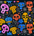 funny mexican skull cartoon background pattern vector image
