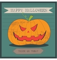 Grunge cartoon jack o lantern smiley halloween vector image vector image