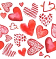 hand drawn painted watercolor red hearts vector image
