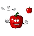 Happy red cartoon sweet bell pepper vegetable vector image