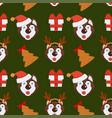 husky dog in christmas hat and gift box endless vector image