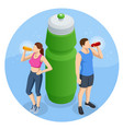 isometric young people drinking a bottle water vector image vector image