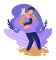 man hugging cats male character with domestic vector image vector image