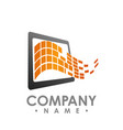 mobile phone app center logo design template vector image vector image