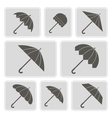 monochrome icons with umbrellas vector image vector image