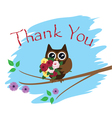 owl thank you card vector image vector image