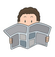 people reading newspaper vector image vector image