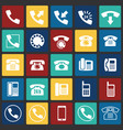 phone icons set on color squares background for vector image