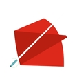 Red cape and sword icon flat style vector image vector image