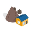 Rockfall destroys house icon isometric 3d style vector image vector image