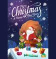 santa and gnomes on romerry christmas vector image