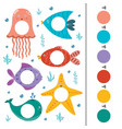 sea animals color matching game for kids vector image