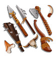 set ancient of hunting and military weapons vector image