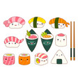 set of cute sushi and rolls icons in kawaii style vector image vector image