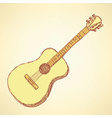 Sketch guitar musical instrument in vintage style vector image vector image