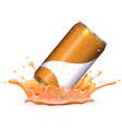 soda can drops in orangle splash vector image
