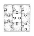 solved puzzle without one piece sketch engraving vector image vector image
